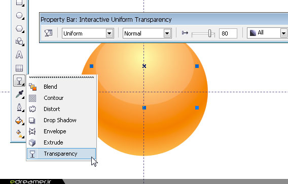 Interactive Transparency Tool در CorelDraw